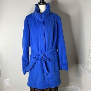 Lane Bryant blue zip long belted coat jacket 26 28